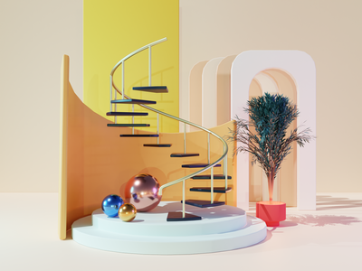 Spiral Stairs 3d blender