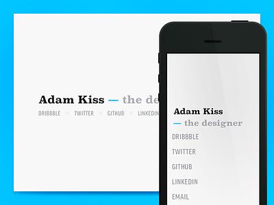 Adam Kiss 2014 website portfolio webcard vcard designer minimal blue