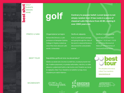 Golf subpage typography layout subpage events golf green red