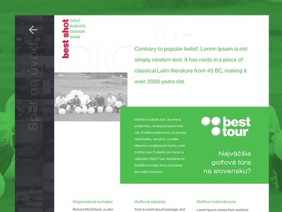 Golf subpage 2 typography subpage exploded grid green golf events