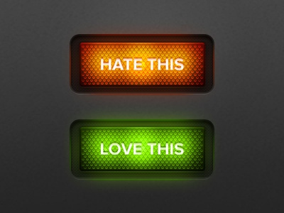 Hate/love this buttons button buttons rocker rockers light texture hate love green red orange ios iphone ipad