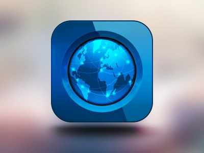 Mobile App Icon – rebound blue globe earth light glossy icon app application ios iphone glass