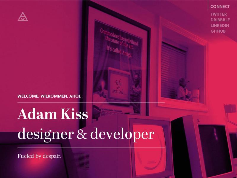 Adam Kiss 2013 – personal site 2 purple red white big photo serif grid sans-serif art-directed