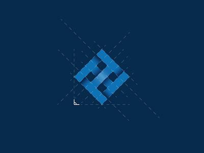 Logo - Habitar House (Dwell House) blue logotype brand visual identity phi grid logo