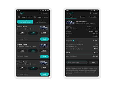 Car Rental PLP & PLP for Revv Self-Drive Cars mobile ui design product description page product listing page app ui ux mobile app