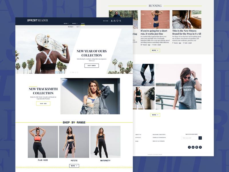 SprintReader web desgin shop design news running ux ui design