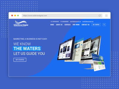 Home Page Design Concept for Wild River Digital ux creative web vector branding graphic design design ui template illustration