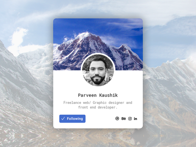 User Profile Card widget ux user ui social profile member interface follow card button avatar