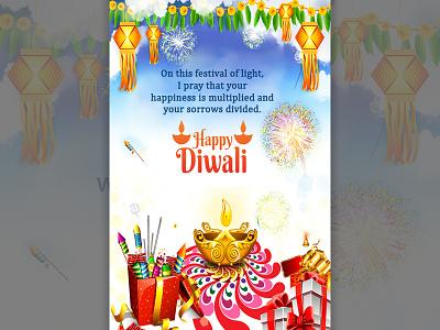 Diwali Card Design diwali celebration branding festival festival of lights graphic design greetings greetings card illustration socialmedia template typogaphy wish card wishes