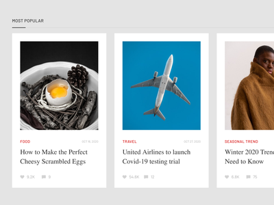 News Cards ✨ web design trand travel food fashion preview usability ux news web ui kit adobe xd minimal card ui