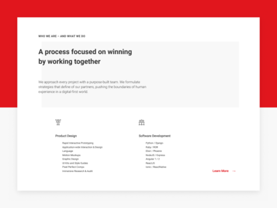 Block «Who We Are» typography hot font ui development design red figma minimal icons web block