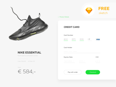 Day 002 of Daily UI - Credit Card Checkout dailyui nike product user ui typography minimal free 002 card credit