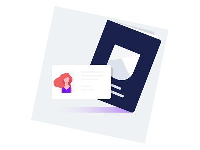 Illustration «ID & Passport» card icon passport id sketch web nuance color gradient woman red hear illustration