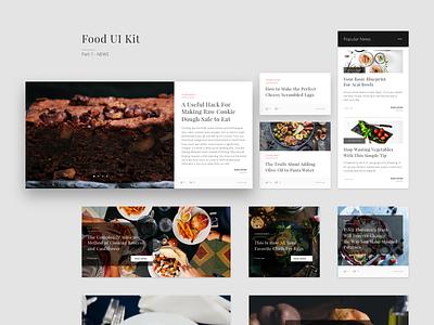 Food cards ⏤ News feed news feed ui kit ui minimal food contrast comments recipes card black adobe xd