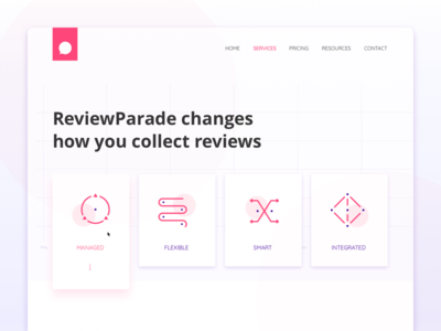Services icons | Review Parade abstract minimalism illustration sketch web card hero service purple icons