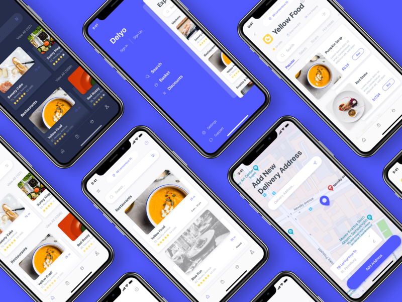 Delyo | Food Delivery Application | Round 1 ui8 free sidebar card store restaurant location search food black delyo ui kit minimal adobe xd mobile app iphone x delivery app ios sketch ui
