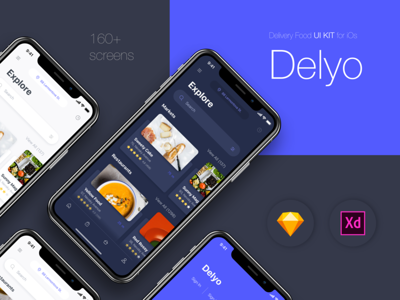 Delyo | Food Delivery App | Round 2 ui8 restaurant search location delyo iphone x ui kits free food delivery app card black adobe xd sketch minimal ios mobile app ui store ui kit