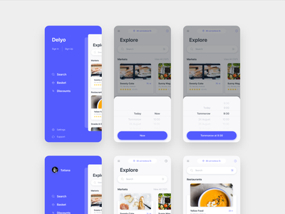 Delyo   Food Delivery App   Round 3 white location research restaraunt store card free delivery app food delyo iphone x ios mobile app minimal black ui kit adobe xd ui8 sketch ui