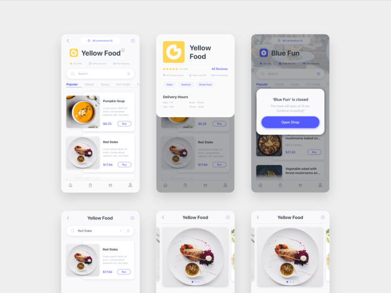 Delyo | Food Delivery App | Round 4 ui kit category ui8 delyo iphone xs ios mobile app delivery free store popup restaurant search food adobe xd minimal card ui sketch white