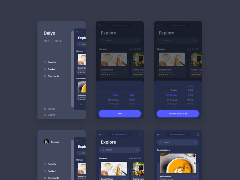 Delyo | Food Delivery App | Round 3 - Black white ui sketch ui8 adobe xd ui kit black minimal mobile app ios iphone x delyo food delivery app free card store restaraunt research location