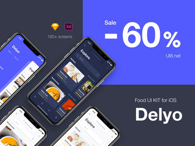 ✨ SALE! ✨ Delyo ⏤ Food Delivery App sale payment ios iphone x mobile app profile card bank settings ui ui kit black delivery sketch adobe xd food white