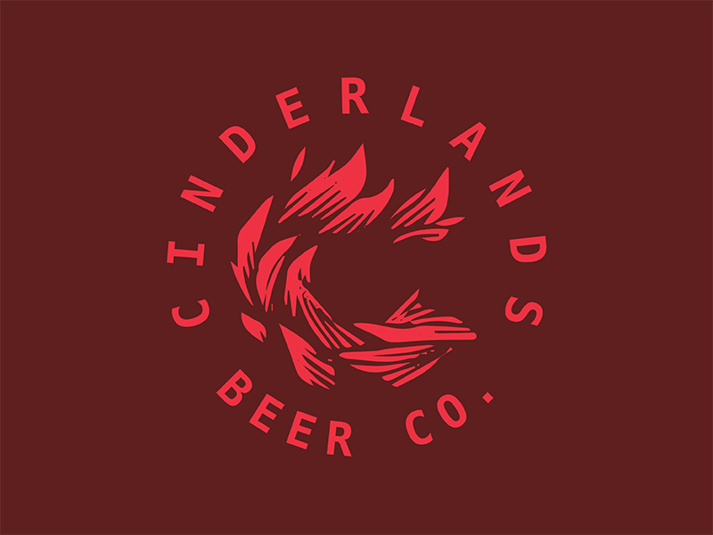 Cinderlands Beer Co flame cinderlands beer co monogram logo beer