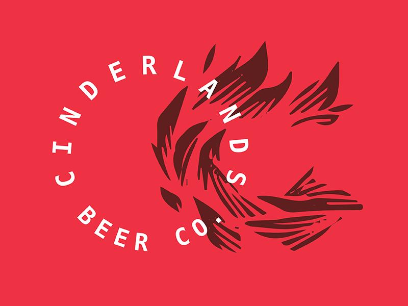 Cinderland Beer Co Offset flame monogram branding cinderlands beer co logo beer