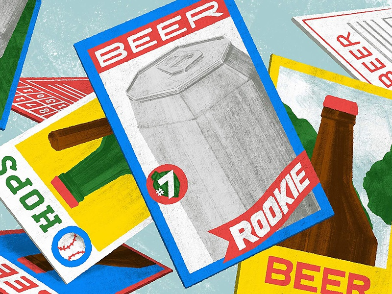 Rookie of the Year good beer hunting october baseball card rookie beer blog editorial illustration