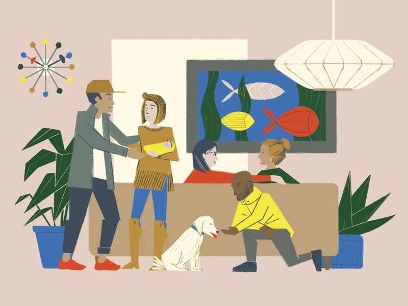 Friends & Family people mid century living room family illustration