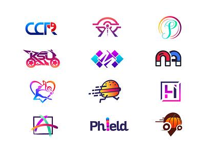 Logos gradient mainitials vector colorfull idea design clever classic branding logo