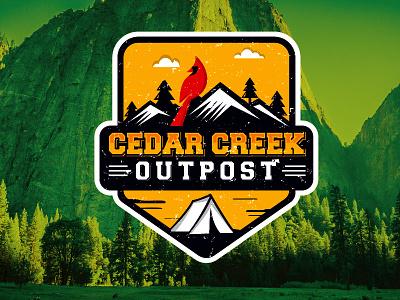 Cedar Creek Outpost rustic clouds mountains trees cardinal adventure creek cedar logo outdoor