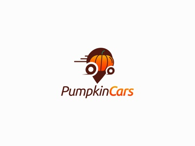 Pumpkin Cars icon location pumpkin vector mainitials colorfull idea design clever classic branding logo