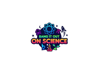 Bang It Out science illustration gradient education school exhibition science art vector colorfull idea design clever classic branding logo