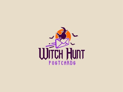 Witch Hunt Post Cards funny fun scary flying halloween postcard witch art gradient vector colorfull idea design clever classic branding logo