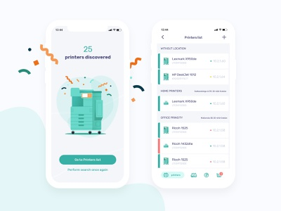 Princity app gray green company office business iot manage buy monitoring dashboard supplies store printing printers animation illustration mobile app design uxui