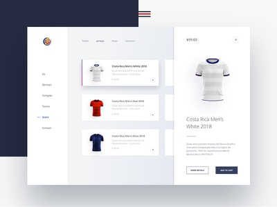 Costa Rican Football Federation Website digital store e commerce rusia 2018 costa rica jersey jersey design jersey product design visual design ui design ui web inspiration web design