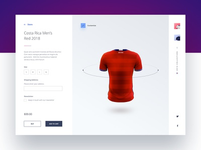 Product Page digital store e commerce rusia 2018 costa rica jersey jersey design product design visual design ui design ui web inspiration web design product page