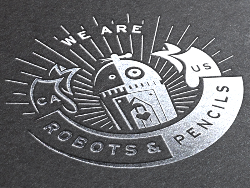 We Are Robots and Pencils emblem illustrator crest ai pencil heart robot banner seal badge circle