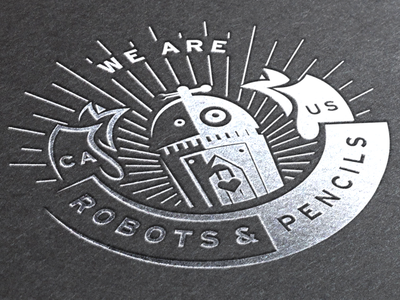 We Are Robots and Pencils emblem illustrator crest ai pencil heart robot banner seal badge circle