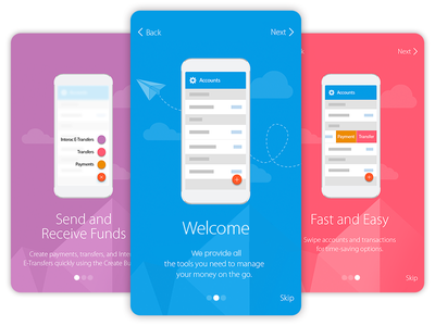 Onboarding - One Two Three welcome ui ux transfer payment banking finance send app material steps onboarding