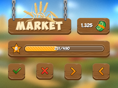 Farm Game UI 🐥 farm money arrows level star progress bar navigation market icons wood ui game
