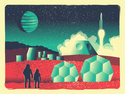 Distant Future One illustration game card geometric vector scifi rocket exploration space retro