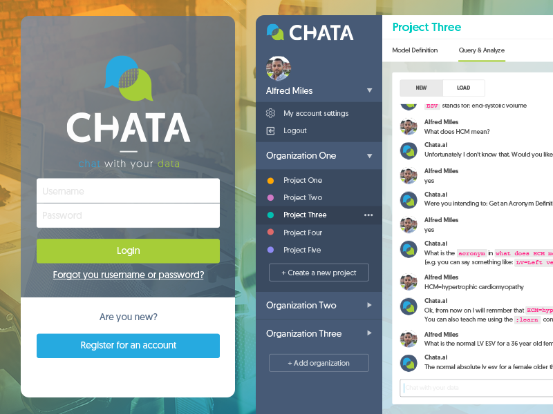 Chat with your data sidebar login ui screen web app logo mark data conversational bot chat
