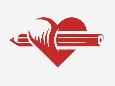 Pencil through the Heart  depth stab icon red crest vector illustrator pencil heart