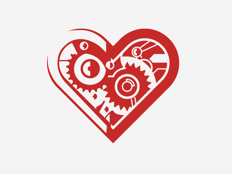 Operations Heart light parts moving gear icon crest vector illustrator gears heart
