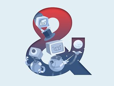 & of Robots & Pencils character red blue typography bot vector illustrator ampersands pencils robots