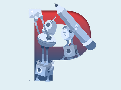 P of Robots & Pencils robots pencils ampersands illustrator vector bot typography blue red character