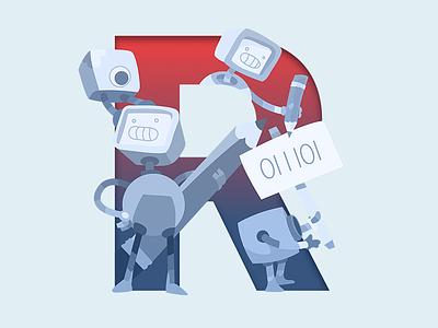 R of Robots & Pencils character red blue typography bot vector illustrator ampersands pencils robots