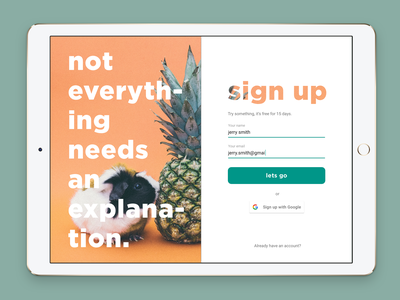 Daily UI challenge #001 — Sign up guinea pig pineapple ui daily form sign up