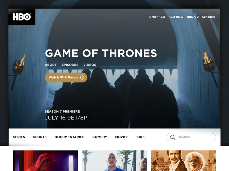 Daily UI challenge #003 — Landing page landing website web page home game thrones hbo ui